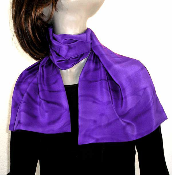 Purple Scarf, Unique Hand Dyed Pure Silk Crêpe Scarf, by Jossiani.