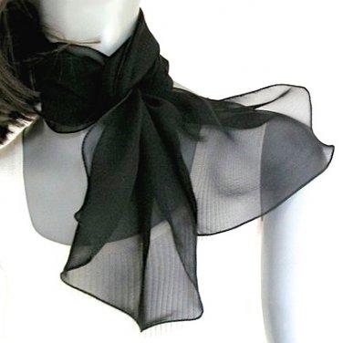 Small Chiffon Black Scarf Scarflette Neck Kerchief, Pure Mulberry Silk, Ready to Ship