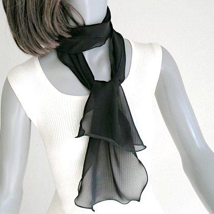 Small Black Scarf, Sheer Neck scarf, Silk Chiffon Tie, Black Sash, Artisan Handmade, Artinsilk.