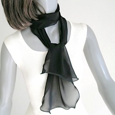 Small Black Scarf, Sheer Neck scarf, Silk Chiffon Tie, Black Sash, Artisan Handmade, Artinsilk.