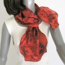 Hand Painted Silk, Venetian Red Scarf 100% Silk Unique Hand Dyed, Jossiani, ready to ship.