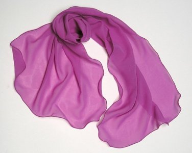 Pink Fuchsia Scarf, Magenta Pink Silk Scarf Natural Silk Chiffon, One of a Kind Artisan Handmade.