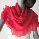 "Red Sheer Wrap, Lipstick Red Shawl, Natural Silk Chiffon, Red Coverup, Medium 21"" x 68"", Artinsilk"