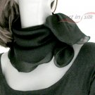 "Black Silk Small Scarf, Small Square Neck  Scarflette, Chiffon 22"" x 22""."