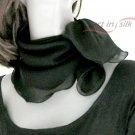 """Black Silk Small Scarf, Small Square Neck  Scarflette, Chiffon 22"""" x 22""""."""