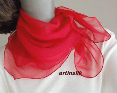 Small Red Chiffon Neck Scarf, Beautiful true red, Sheer Chiffon, Artinsilk