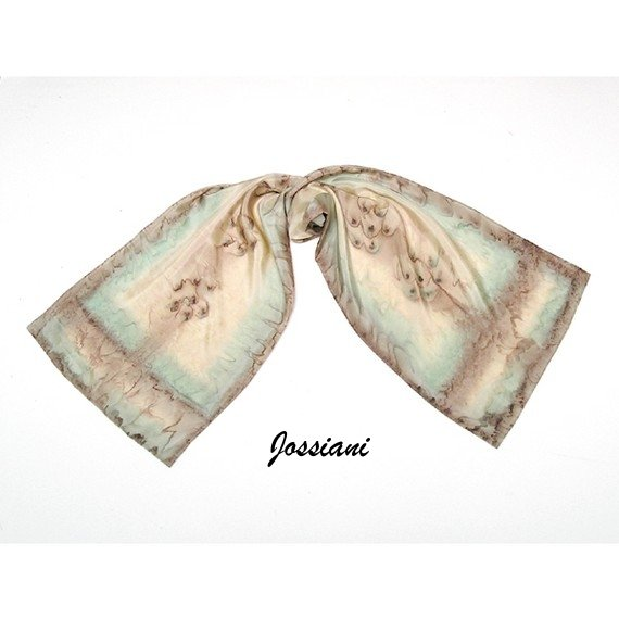 Beige Ecru Scarf, Unique Earth Truffle Dried Herbs Muted Colors, Hand Painted by JOSSIANI.