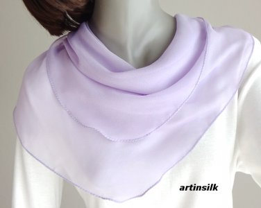 Small Lavender Chiffon Neck Scarf, Light Solid Lavender, Sheer Chiffon, Artinsilk