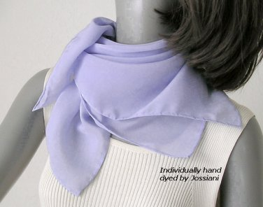 """Light Lavender Blue Square Scarf, Periwinkle Lilac Hand Dyed One of a Kind, Silk 23x23""""."""