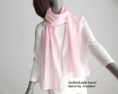 Pale Pink Long Crepe Silk Hand Hemmed Scarf, Hand Dyed Pure Natural Silk, Ready to Ship.