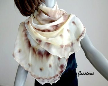 Hand Painted Scarf Wrap Pure Silk Chiffon, Beige Ivory Earth Champagne Brown Coverup, JOSSIANI.