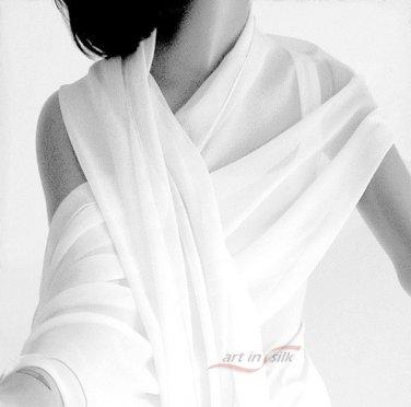 "Natural Silk White Chiffon 10MM Shawl Light Ivory 21"" x 74"", M - CUSTOM ORDER only."