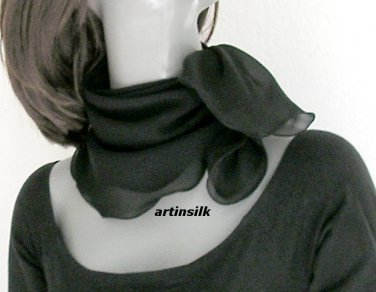"Black Silk Small Neck Scarf Square Wavy Edge  Silk Chiffon 10mm, Bandana Scarflette, 22x22"""