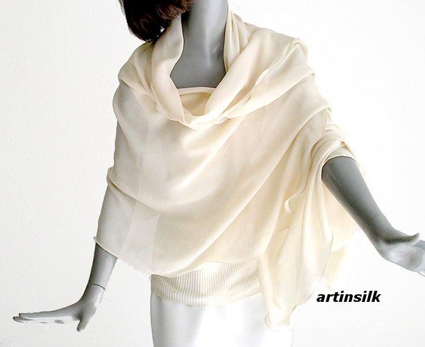 Beige Ivory Shawl Wrap Coverup Sheer Pure Silk Chiffon, Unique Hand Dyed, M L Plus X, Artinsilk