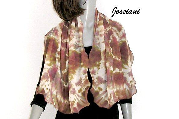 Tie Dye Earth Tones Scarf Wrap Pure Silk Chiffon, Beige Wine Brown Bronze Coverup, JOSSIANI.