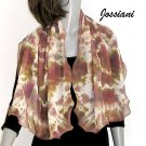 Tie Dye Earth Tones Scarf Wrap Pure Silk Chiffon, Beige Wine Brown Bronze Coverup, JOSSIANI.