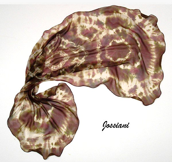 Brown Beige Scarf, Hand Painted CHIFFON,  Truffle Brown Raspberry Champagne Olive Beige, JOSSIANI