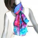 Hand Dyed and Painted Silk Scarf Multicolor Petite Wrap, Unique Scarf, Artisan Handmade, Jossiani