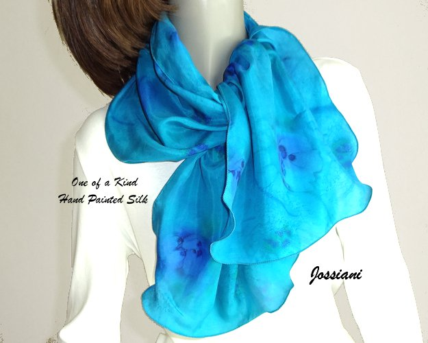 Ocean Hues Turquoise Silk Scarf, Unique Hand Painted Silk by Jossiani