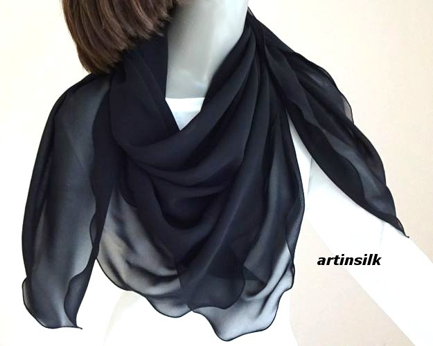 "Silk Chiffon Black Square Scarf 43"" x 43"" 100% Pure Silk 8mm,  Artisan Made, Artinsilk.."