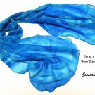 Hand Painted Silk Chiffon Scarf Aqua Cobalt Ultramarine, Sky turquoise, Unique JOSSIANI creation