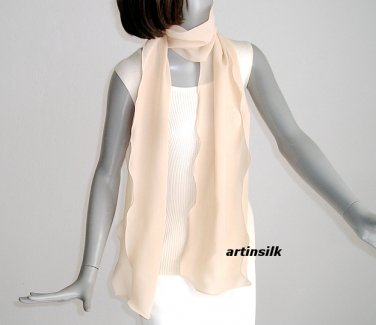 Sand Tan Skin Long Unique Scarf, Pure Silk Chiffon 10mm Hand Dyed.