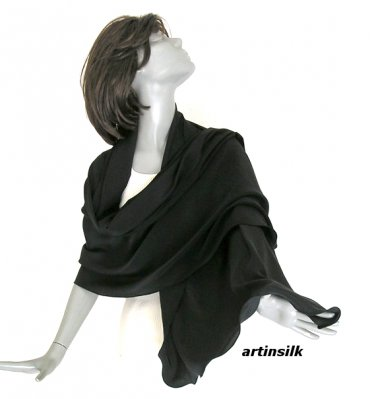 Black Shawl Silk Large Wrap, Natural Pure Crepe Silk Luxurious Evening Scarf.