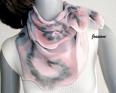 Hand Painted Silk Chiffon Gray Pink Quartz Small Neck Scarf Kerchief, Unique JOSSIANI creation
