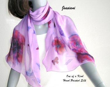 Hand Painted Silk Shawl Chiffon Lavender Red Purple Gray Scarf, Unique JOSSIANI creation.