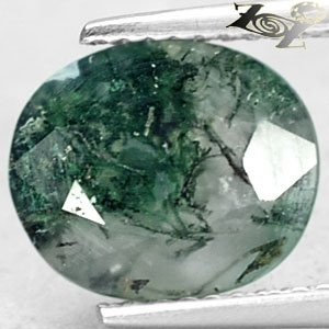 2.51 Ct.Natural Oval 8*9.5 mm. Green Dendrite Whole Crystal White Moss Agate Gem