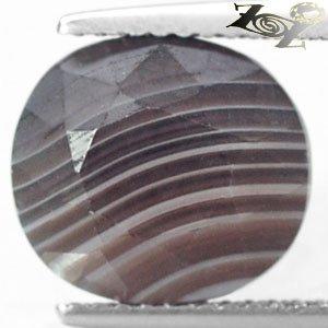 5.73 CT.Natural Oval 10*11 mm. Milky White Honey Brown Layers Zebra Sardonyx Gem