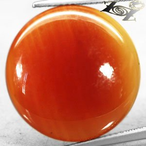 15.05 CT.Natural Round Cabochon 20 mm. Sunset Orange Red Africa Carnelian Agate