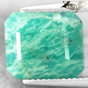 6.15 CT.Natural Emerald 10*12 mm .White Streaks Whole Piece Aqua Green Amazonite