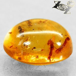 4.46 CT.Natural Oval 11.5*15 mm. Insect Fossils Inside Madagascar Yellow Copal