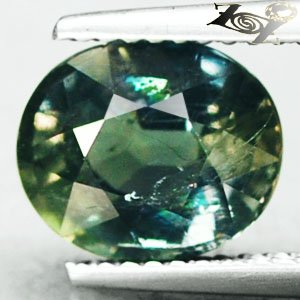 3.57 CT.Firely Unheated Natural Oval 8*9 mm Intense Blueish Green Sapphire 綠��寶�