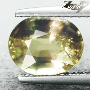 2.06 CT. Unheated Natural Oval 6.5*8 mm.Intense Kiwi Green Yellow Sapphire ���寶�