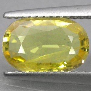 2.39 CT.Natural Oval Intense Lemon Yellow Songea Mine Tanzania Sapphire ��綠��