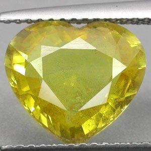 4.08 CT.Natural Heart 10*10.7 mm. Vivid Yellow Songea Mine Tanzania Sapphire Gem
