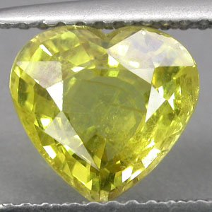2.96 CT.Natural Heart 8*8.5 mm. Vivid Yellow Songea Mine Tanzania Sapphire ���寶�