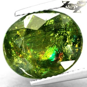 6.94 CT.Natural Oval 10.5*13 mm. Rainbow Spark Intense Leaf Green Apatite 綠�磷��