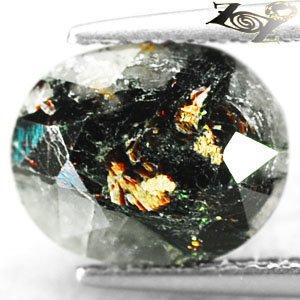 4.81 CT.Natural Oval 9*11 mm. Spark Orange Plates Matrix Gray Black Astrophylite