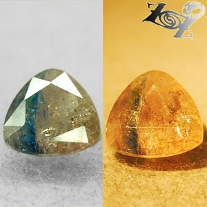 3.16 Ct.Natural Trillion 10 mm. Yellow Blue Color Shift Magnesio Axinite