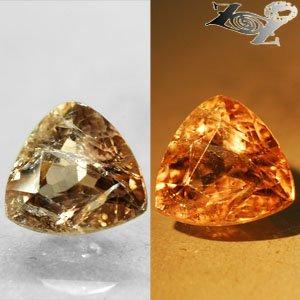 2.86 Ct.Natural Trillion 9 mm. Color Shift Salmon Brown France Ferro Axinite Gem