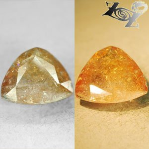 9.5 Ct.Rare Natural Trillion 15 mm. Color Shift Lilac Yellow Ferro Axinite Gems