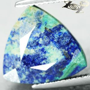 7.37 CT.Natural Trillion 13mm.Azure Blue Cool Green Tenorite Azurite Chrysocolla