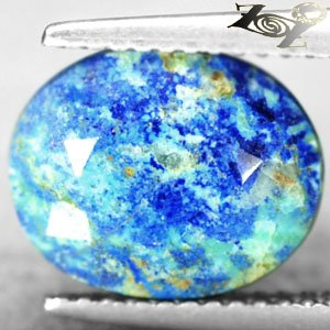 4.12CT.Natural Oval 9.5*11.5mm Blue Green Tenorite Azurite Chrysocolla ��礦��� ��