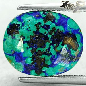 7.02 CT.Natural Oval 10.5*13 mm Brown Azure Blue Green Azurite Malachite ��礦 ���