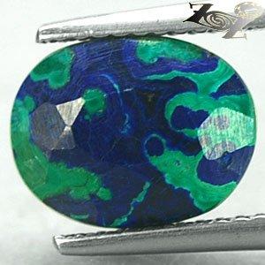 3.24CT.Natural Oval 8*10.5m Azure Blue Green World Map Pattern Azurite Malachite