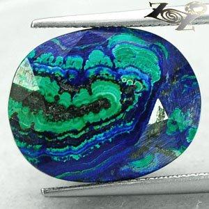 17.5 Ct.Natural Oval 14.5*18 mm. Blue Green World Map Azurite Malachite ��礦 ���