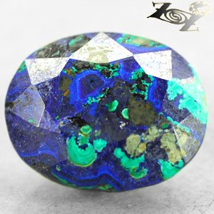 14.45 Ct.Natural Oval 14*17 mm. Sea Island World Map Azurite Malachite ��礦 ���